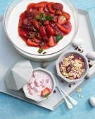 Bavarian cream with strawberry compote, strawberry yoghurt and muesli