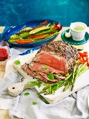 Herb crusted sirloin with grilled vegetables