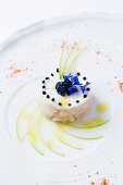 Scallop tatar with apples and smoked herring mousse from the restaurant L'Amphitryon in Lorient, Brittany, France