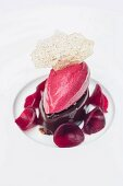 A dessert from the restaurant Le Roscanvec: dark chocolate and beetroot, Brittany, France