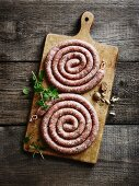 Sausage spirals on a chopping board