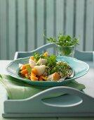 Cress and barley risotto with smoked halibut and lemon carrots