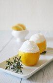 Lemon sorbet served in lemons