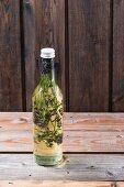 A bottle of lavender flower oil