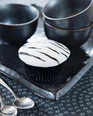 A zebra cupcake