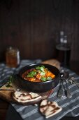 Sweet potato curry with naan bread