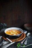 Sweet potato soup with crème fraîche