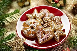 Lebkuchen (spiced soft gingerbread from Germany) decorated with icing