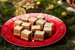Basel Lebkuchen (spiced soft gingerbread) with a marzipan and walnut filling