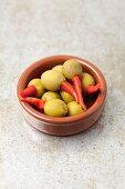 Olives stuffed with piri-piri