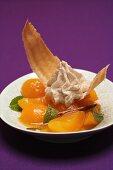 Apricot compote with cinnamon cream