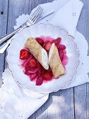 Almond crêpes with mascarpone and a rhubarb and strawberry ragout