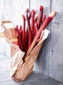 Fresh rhubarb in a paper bag