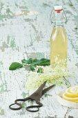 Elderflower syrup, elderflowers, lemon slices and a pair of scissors on a wooden table