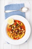 Octopus goulash with pasta and olives (Greece)