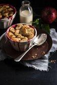 English pudding with apple and rhubarb