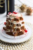 A Christmas tree Panettone with condensed milk semi-freddo