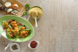 Bulgur salad with ingredients