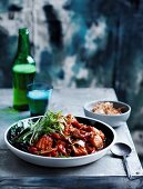 Chilli and tomato beerfish with fried garlic and shallot