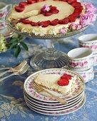 Elderflower mousse cake with strawberries