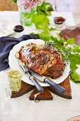 Roast leg of lamb with anchovy and garlic