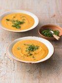 Sweet potato soup with chervil