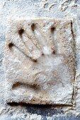 A handprint in dough