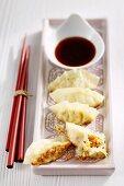 Gyozas (stuffed Japanese dumplings) with soya sauce