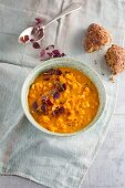 Red lentil dhal with daikon cress