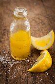 A bottle of lemon vinaigrette