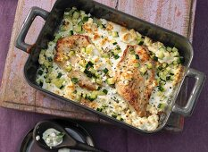 Mediterranean turkey escalope with courgette and feta cheese
