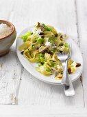 Fettuccine on Mediterranean savoy cabbage