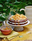 Chocolate cream cake with apple caramel