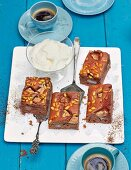 Pear cake with chocolate and pine nuts