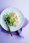 Tataki von der Jakobsmuschel mit Spargel-Minz-Salat & Kokos-Chutney