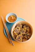 Steamed duck wontons with peach sambal (Asia)