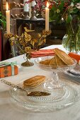 Candelabra and crystal glass on vintage-style autumn dining table