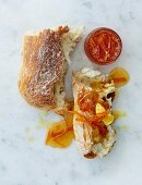 Chile and ginger chutney on a piece of bread