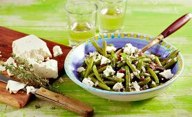 Greek bean salad with feta cheese and thyme