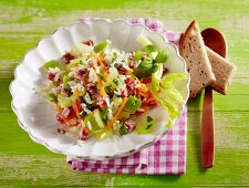 Rice salad with salami and celery