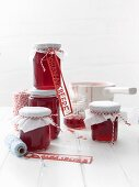Jars of homemade redcurrant jelly