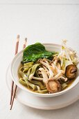 Japanese noodle soup with mushrooms and fresh spinach noodles