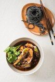 Tsukemen ramen with prawns and black noodles