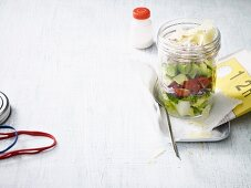 A layered Caesar-style dessert in a jar to takeaway