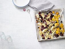 Quick oven roasted vegetables with feta cheese (low carb)
