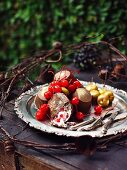 Homemade Christmas chocolate kisses with candied cherries
