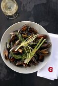 Mussels in white wine with fennel