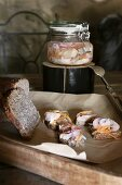 Christmas in a wine cellar: wholemeal bread topped with pickled herring