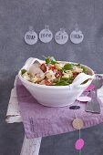 Orecchiette chicken salad with cherry tomatoes and basil
