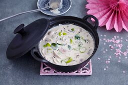 Four cheese party soup with mushrooms